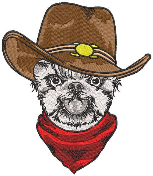 Dog cowboy embroidery design