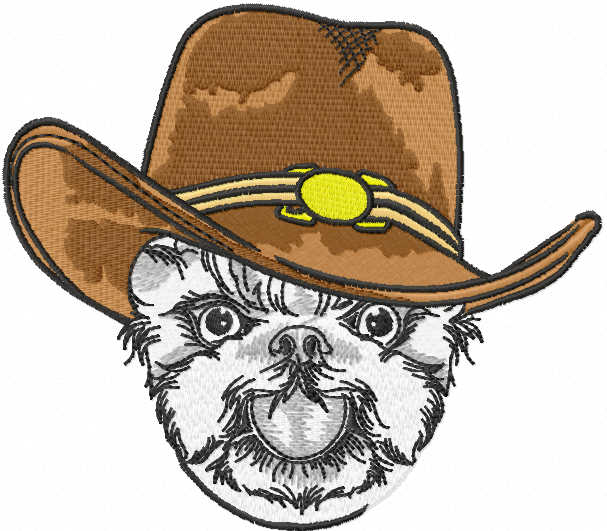 Dog in cowboy hat embroidery design