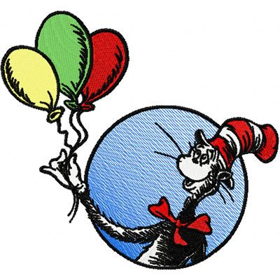 Dr Seuss Cat In The Hat With Balloons Embroidery Design