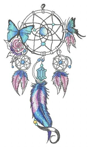 Dreamcatcher with two butterflies embroidery design