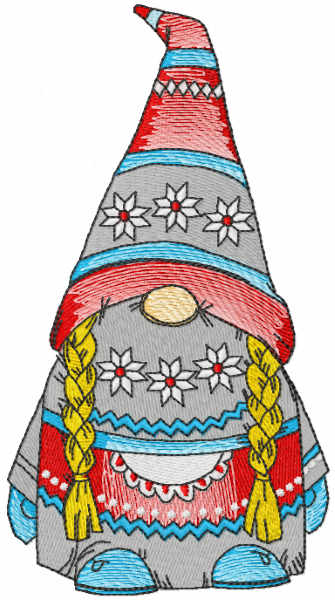 Dwarf girl embroidery design