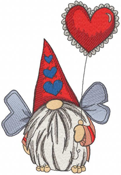 Dwarf with wings and balloon embroidery design