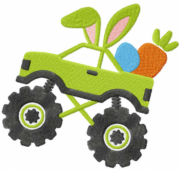 Easter Monster truck embroidery design