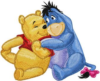 Eeyore and Winnie Pooh - friends machine embroidery design