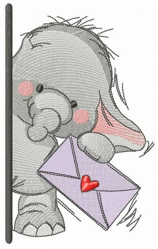 Elephant letter for you embroidery design