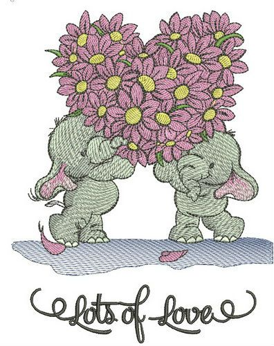 Elephants lot's of love embroidery design