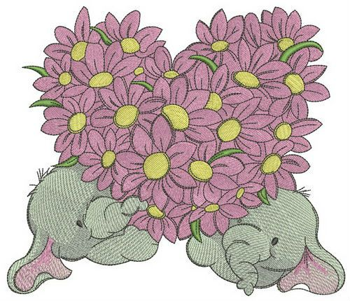Elephants with flower heart embroidery design