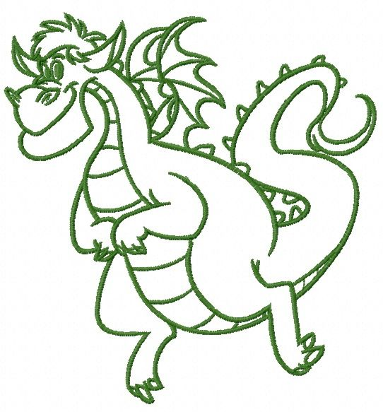 Elliott the Dragon machine embroidery design 2