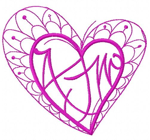 Fancy heart embroidery design 5