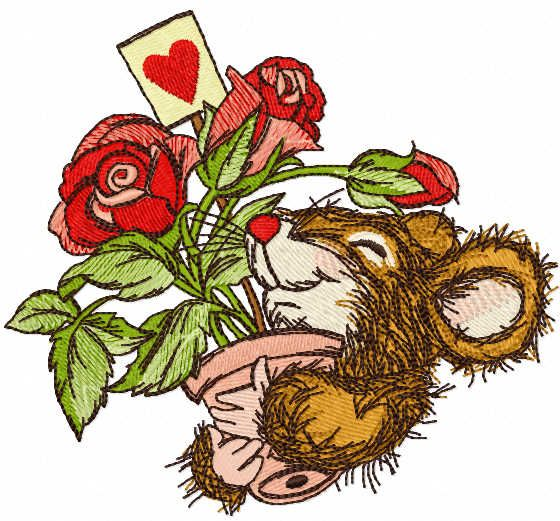 Favorite roses as a gift embroidery design