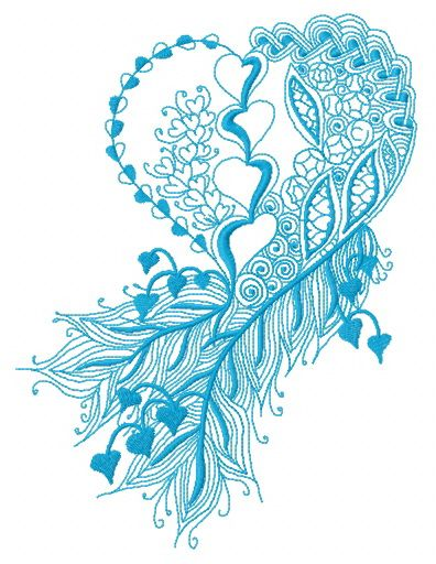 Feathered heart one color embroidery design
