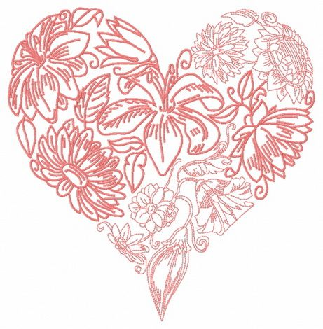 Floral heart embroidery design 5