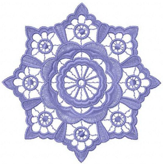 Flower lace machine embroidery design