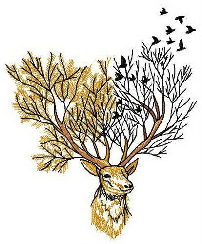 Forest deer embroidery design