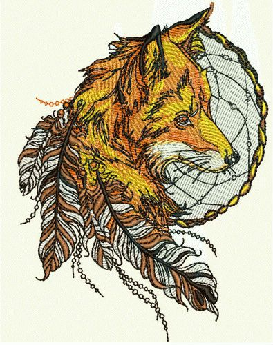 Fox and dreamcatcher embroidery design 4