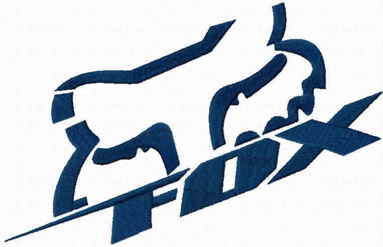 Fox Racing sport logo machine embroidery design