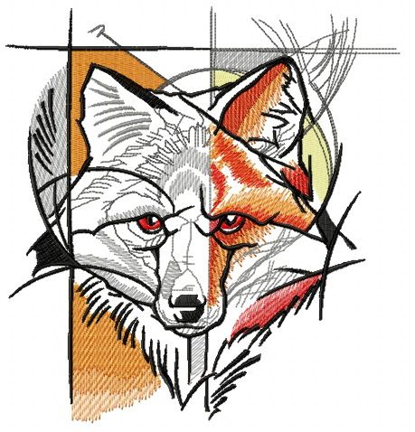 Fox street art embroidery design