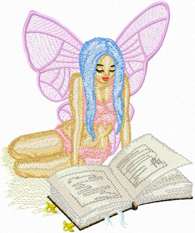 Fairy Reading Book embroidery design
