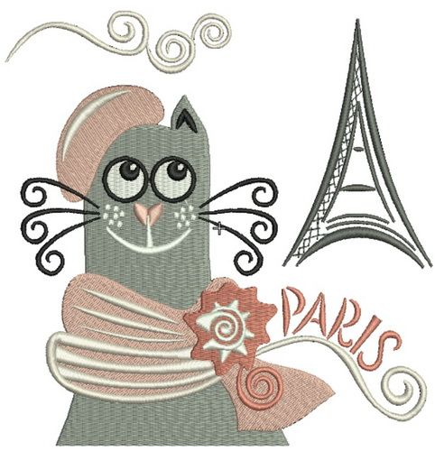 French cat machine embroidery design