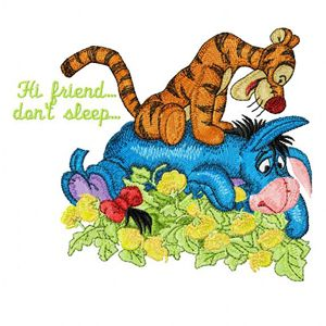 Tigger and Eeyore Hi friend, don*t sleep machine embroidery design