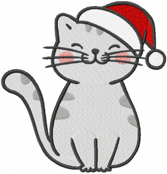Funny Christmas cat free embroidery design