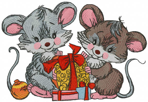 Gifts of mice embroidery design