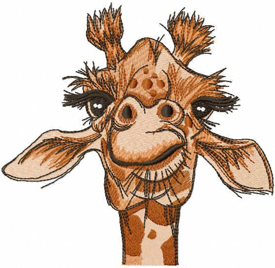 Giraffe look embroidery design
