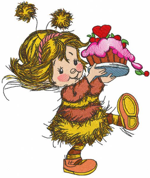 Girl in bee costume with cake embroidery design
