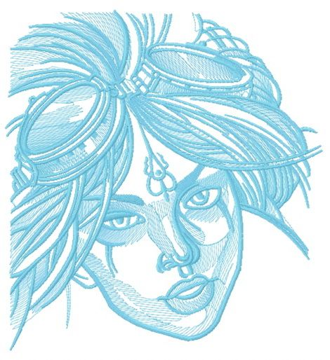 Girl with goggles embroidery design