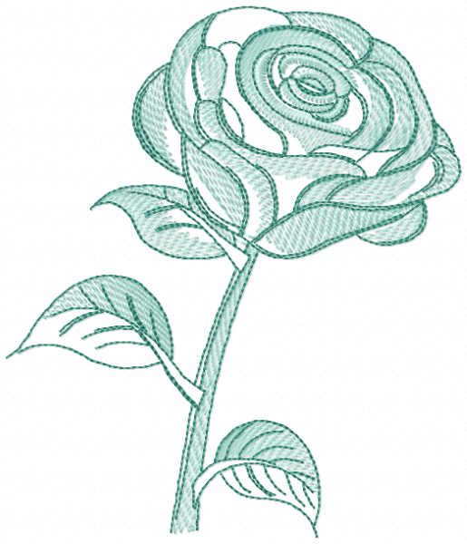 Green rose free embroidery design