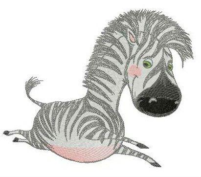 Happy baby zebra embroidery design