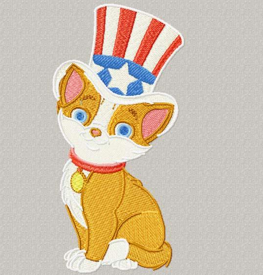 Happy cat embroidery design