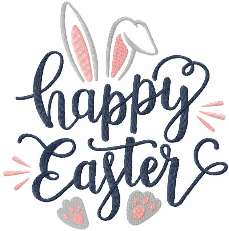 Happy Easter loving bunny embroidery design