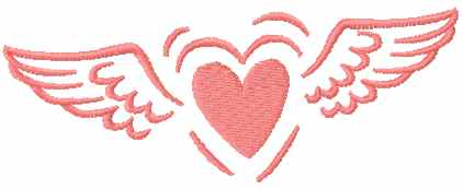 Heart with wings free machine embroidery design