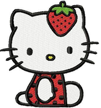 Hello Kitty Strawberry Costume embroidery design