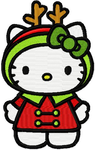 Hello Kitty Christmas Costume embroidery design