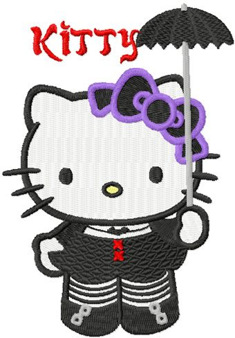 Hello Kitty Gothic embroidery design
