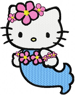 Hello Kitty Mermaid embroidery design