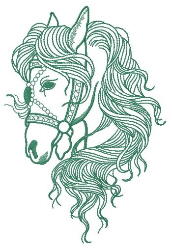 Horse sense embroidery design