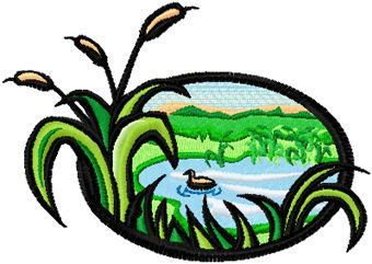 Hunting landscape free machine embroidery design