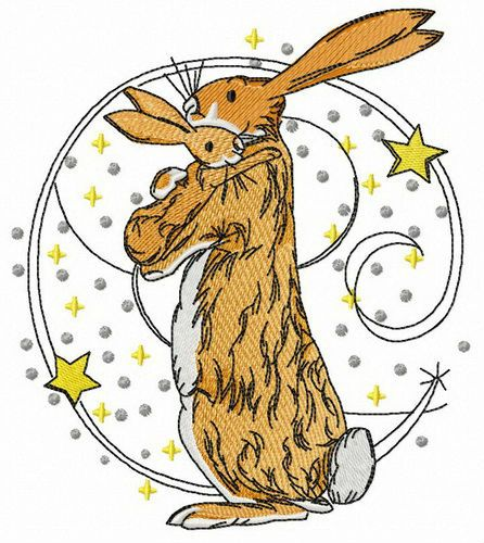I love you bunny embroidery design