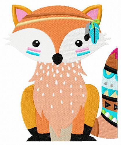 Indian fox machine embroidery design