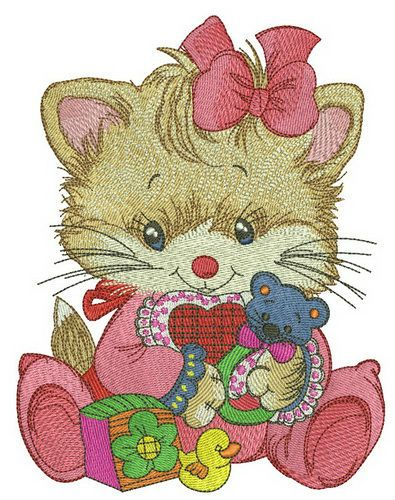 Kitten with baby rattle embroidery design