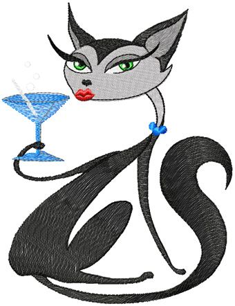 Glamour Kitty relax free embroidery design