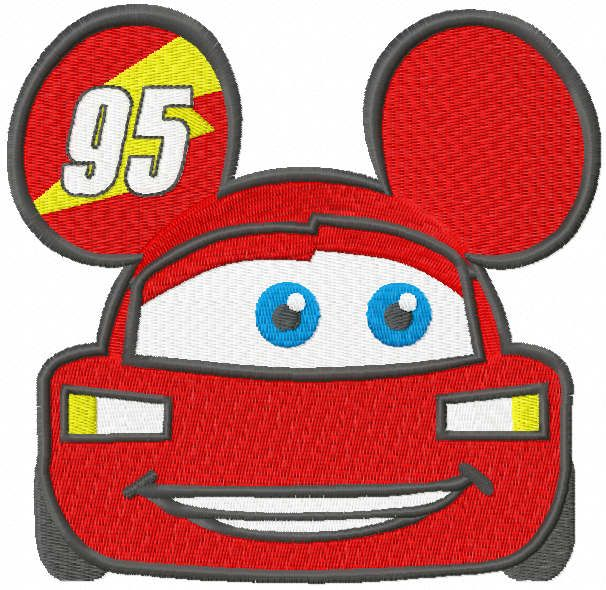 Lightning McQueen mickey mouse embroidery design