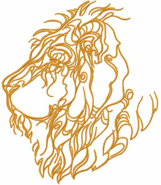 Lion one colored free embroidery design