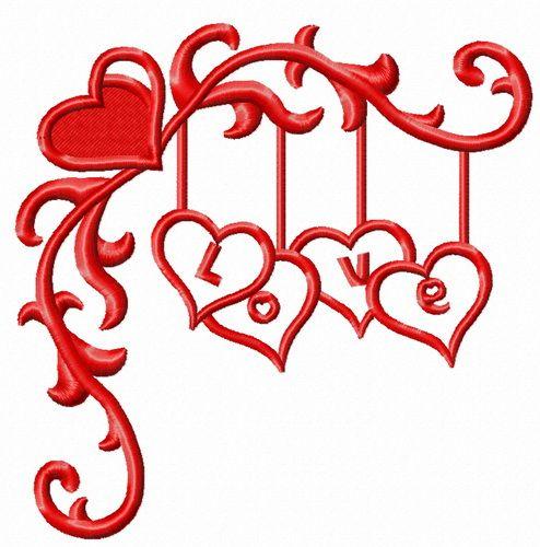 Love decoration embroidery design