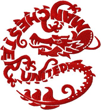 Manchester United dragon logo machine embroidery design