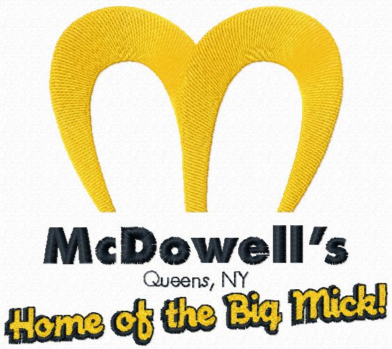 McDowells logo machine embroidery design