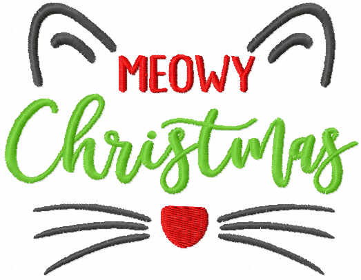 Meowy Christmas free embroidery design